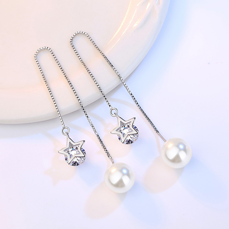 100 925 sterling silver 2018 NEW imitation pearl shiny crystal star ladies drop earrings jewelry wholesale Anti allergy in Drop Earrings from Jewelry Accessories