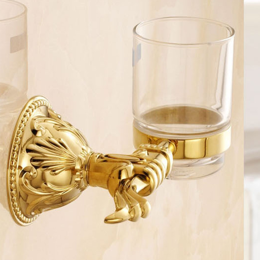 European Cup Gold Cup-toothbrush-holder Antique Glass Toothbrush Tumbler Polish Toothbrush Holder Bathroom Accessories image