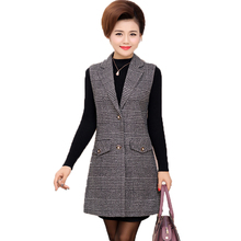 WAEOLSA Mature Woman Plaid Vest Office Lady Outfits Nothched Collar Waistcoat Autumn Spring Womens Long Gilet Elegant Vests 5XL