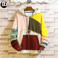2018 Winter Large Size Loose Plus Velvet Hooded Long Sleeve Hoodie Men Fashion Casual Creative Color Block Stitching Mens Hoodie
