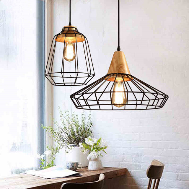 vintage pendant light iron wood pendant lamps hanging lamp home lighting luminaire kitchen fixtures for dining - Hanging Lamp