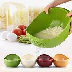 ANHO Large Size Environmentally Plastic Wash Rice Basket Fruit Vegetables Drain Basket Pots Creative Kitchen Accessories
