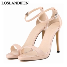 Thin Heels Comfort Women Sandals Free Shipping Ladies Fashion Shoes Open Toe High Heel One Strap Sandal Plus Size  NLK-B0105 цена и фото