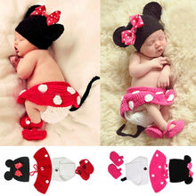 2017 Newborn Photography Props 100% Handmade Knitted Baby Muts Newborn Photo Props Baby Clothes Sets Atrezzo Fotografia Bebes(China)