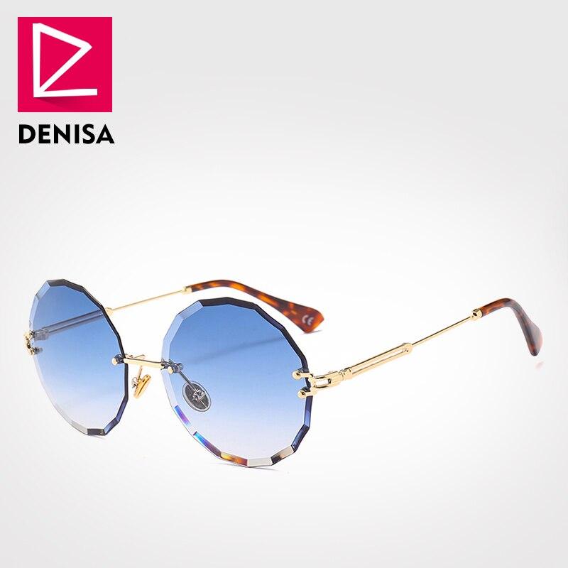 DENISA בציר עגול משקפי שמש נשים גברים 2018 אופנה ללא מסגרת משקפיים רטרו ורוד שמש משקפיים נשים UV400 zonnebril גבירות G18604