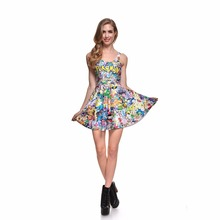 Various Sexy Women Summer Reversible Skater Pleated Dress