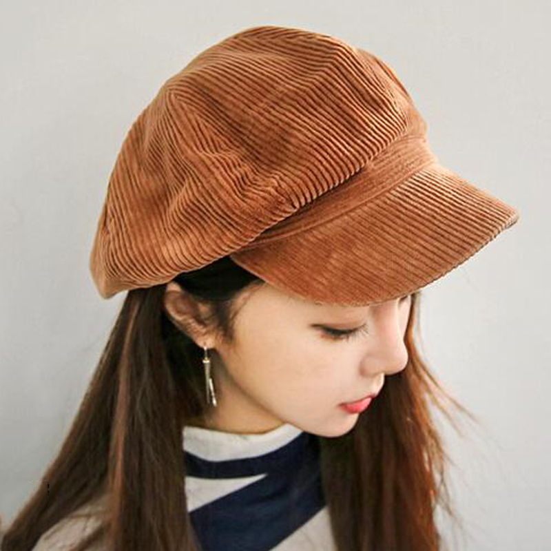 MAXSITI U Corduroy anise newsboy cap Retro literary female  snapback cap Leisure hat accessories