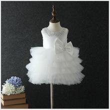 купить baby girl bow baptism dress infant girl first birthday party dress elegant Sequins princess ball gown kid girl boutique clothing по цене 5374.89 рублей