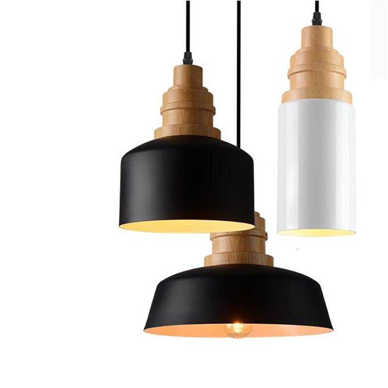 где купить Modern Europe Brief Black/White Iron Wooden Led E27 Pendant Light for Dining Room Restaurant Bar Dia 10/20/27cm 1504 по лучшей цене