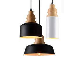 Modern Europe Brief Black/White Iron Wooden Led E27 Pendant Light for Dining Room Restaurant Bar Dia 10/20/27cm 1504