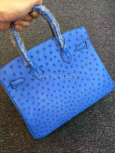 100% Genuine Ostrich Leather Skin Women Tote Handbag, High end Quality  ostrich skin Handbag handmade skilled handbag  blue red