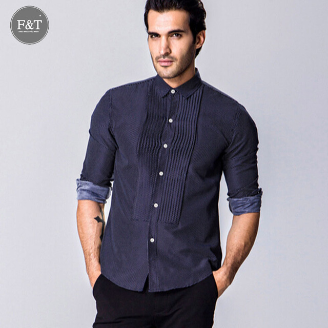 [Asiático tamaño] 2016 Hombres de Punto de impresión palacio de estilo Vestido de pliegues de la Camisa silm fit Turn-down Collar Hombres Camisas de Ropa de Diseño tuexdo