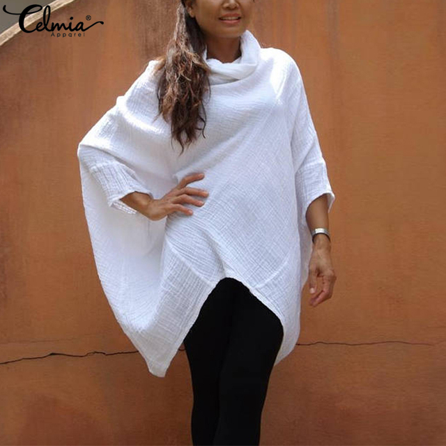 a465c0b697f Celmia Plus Size Women Cowl Neck Batwing Sleeve Blouse 2019 Autumn Casual  Loose Solid Asymmetric Cotton Shirts Oversized Tops
