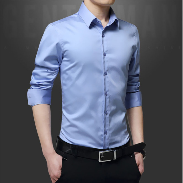 Men's plus size Slim fit shirts 2017 Spring Fashion mercerized cotton long-sleeve dress shirts Men Casual shirts overhemd man