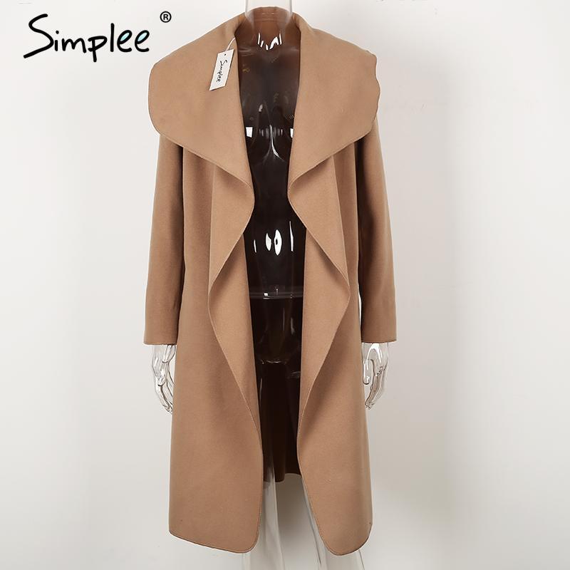 Simplee Black ruffle warm winter coat Women turndown long coat collar overcoat female Casual autumn 16 pink outerwear 12