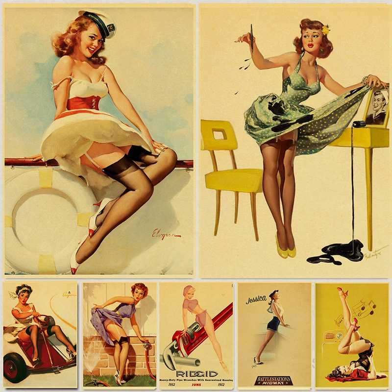 sexy underwear girl pop pin up vintage poster classic retro kraft canvas maps wall sticker home