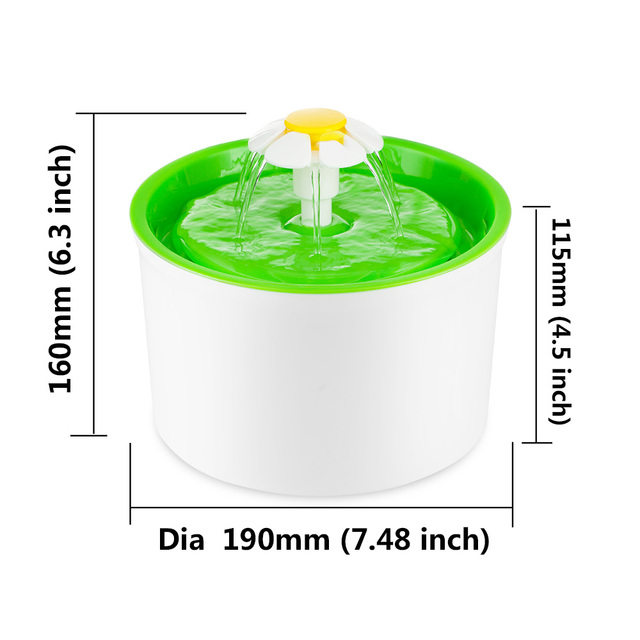 Automatic 1.6L Flower Style Dog Cat Kitten Water Drinking Pet Fountain Pet Bowl Drink Dish Filter Orange/Blue/Green