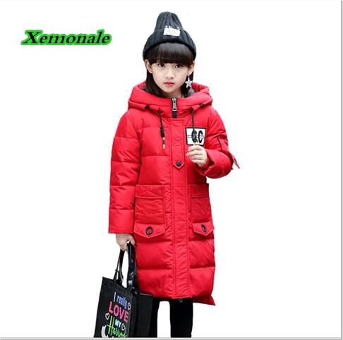 Good quality Children Winter Outerwear 2017 Baby Girls Down Coats Jacket Long Style Warm Thickening Kids Outdoor Snow Proof Coat 2017 new baby girls boys winter coats jacket children down outerwear warm thick outdoor kids fur collar snow proof coat parkas