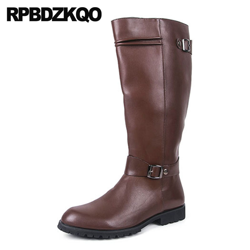 78ebc560fbc US $66.59 36% OFF|Motorcycle British Style Knee High Zipper Riding Plus  Size Mens Leather Tall Boots Waterproof Winter Mid Calf Shoes Big Brown-in  ...