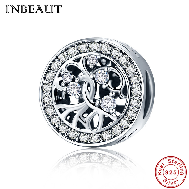 INBEUAT Cute Trendy 925 Sterling Silver White Green Zircon Stones Family Tree Round Beads fit Pandora Charms Bracelet for Female