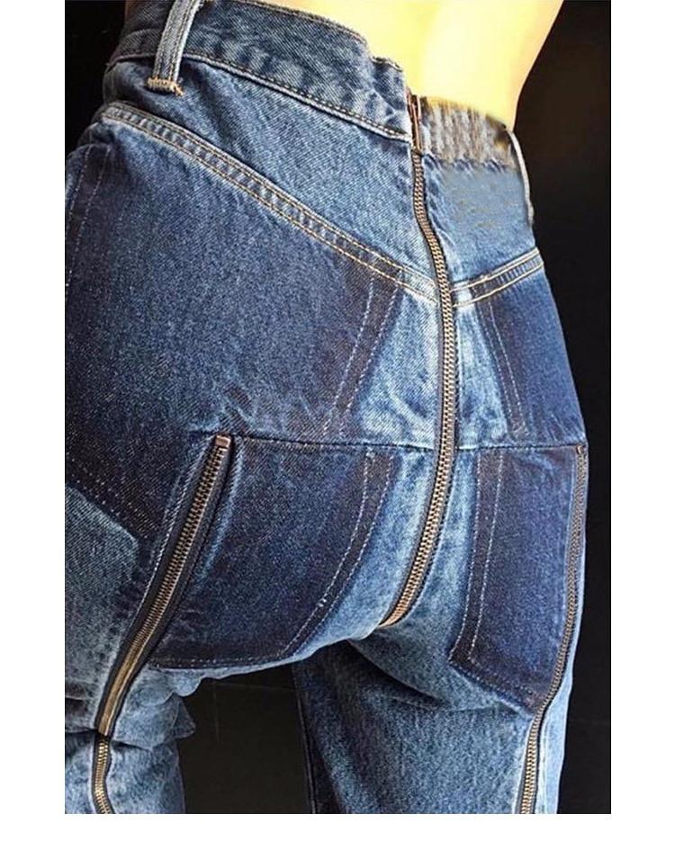 Pantalones Cremalleras Light Ripped Cakucool Imperio Blue 2018 Remiendo Sexy Mezclilla Asimétrico Lápiz Capris Vaqueros Femenino Slit Azul wZ87nZxqA