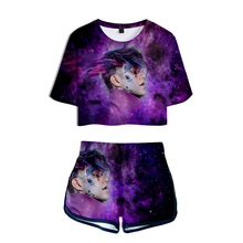 LUCKYFRIDAYF New lil peep 3D Summer Shorts And T-shirts Suicide Squad Women Two Piece Sets Funny  Print Crop Top Clothes luckyfridayf lil peep suicide squad fashion crop top summer t shirt women 100