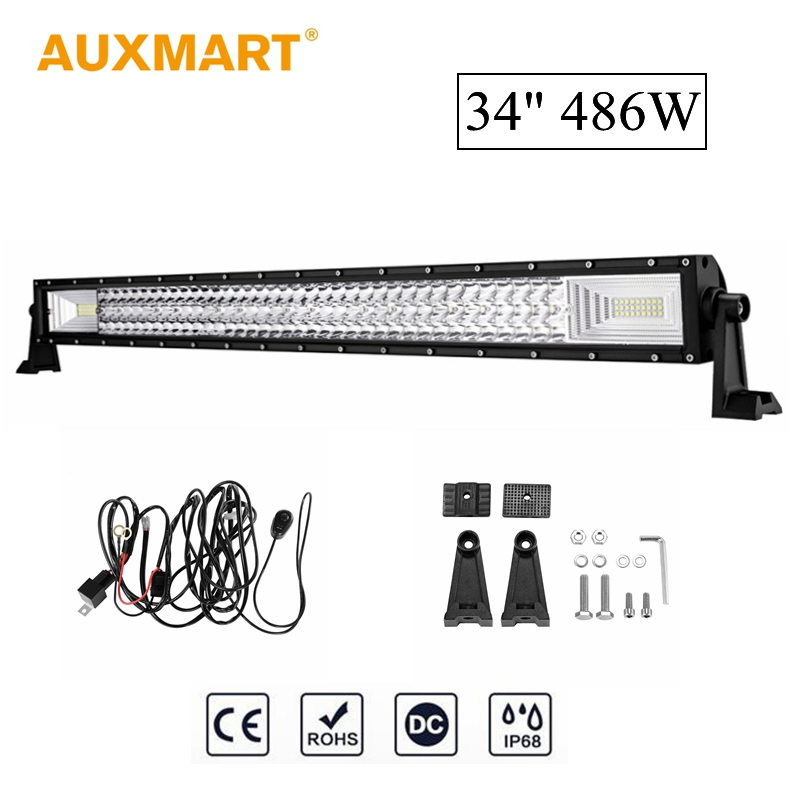 Auxmart 3 Row 34 inch 486W Straight LED Light Bar 162pcs LED Chips Work Light Lamp IP86 Waterproof Combo Spot Flood Beam 12V 24V auxmart triple row 22 34 42 50 curved