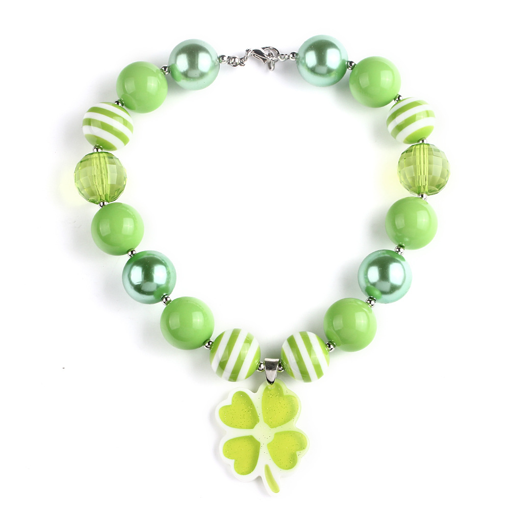 Hot Selling Environmental Resin Green Lucky Four Leaf Clover Charm Pendant Kids Necklace ...