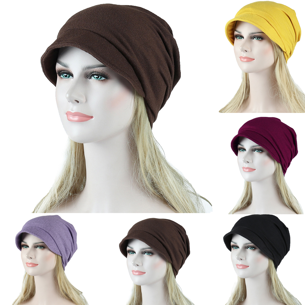 Women Casual Solid Solid Muslim Stretch Cancer   Skullies     Beanies   Chemo Turban Hat Hair Loss Head Scarf Wraps 2019 New