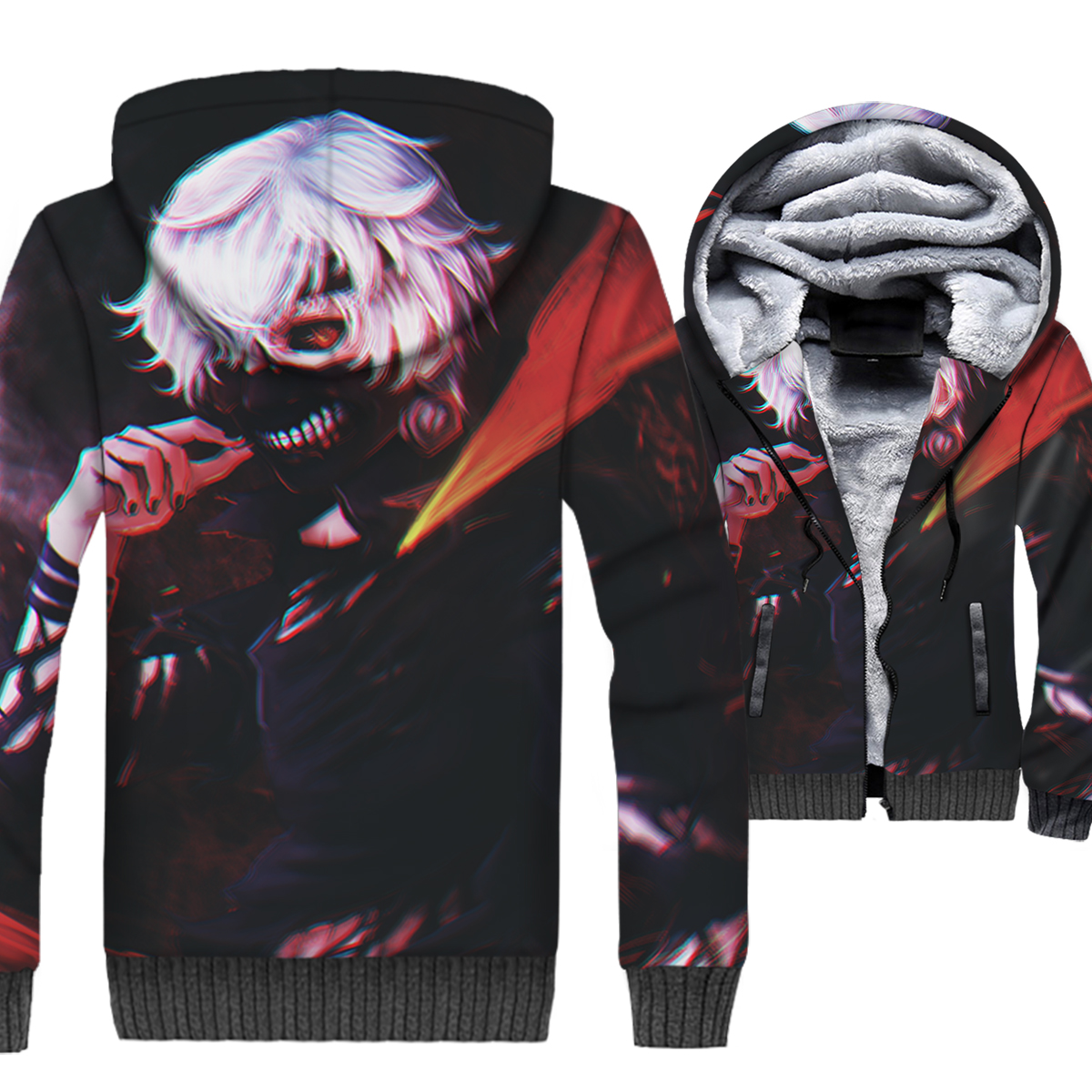 Anime Tokyo Ghoul Jacket Men Ken Kaneki Hoodie New Design Sweatshirt Winter Thick Fleece Warm 3D Print Coat Punk Streetwear Mens