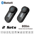 New 2 Sets 800M LCD Screen BT Bluetooth Motorcycle Helmet Intercom Interphone Headset with FM Function intercomunicador