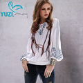 Summer Style Women Blouse 2017 Yuzi.may Vintage New Cotton Linen Blouses Ethnic V-Neck Lantern Sleeve  B9517 blusa feminina