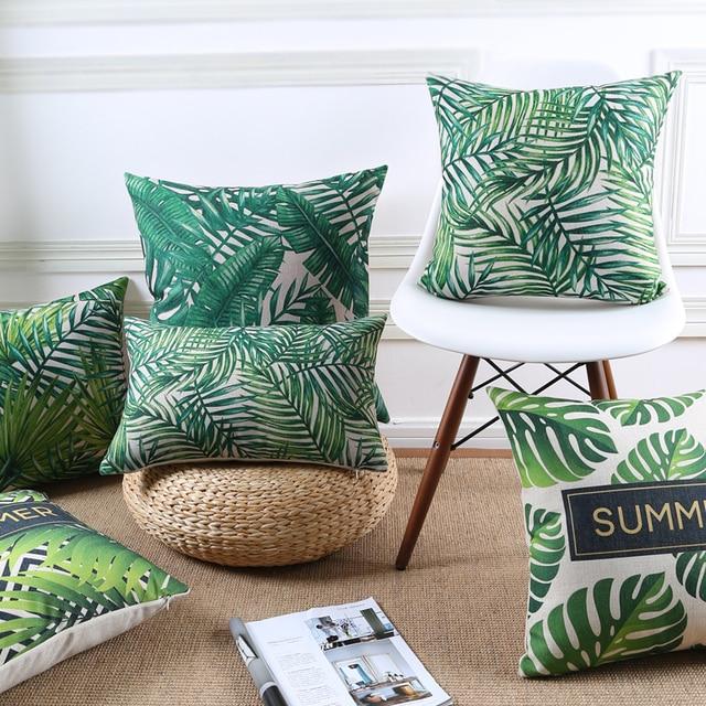 Green Decorative Pillows Cover Tropical Throw Pillows Leaves Palm Green Cushion Cover Home Decor Pillow Case