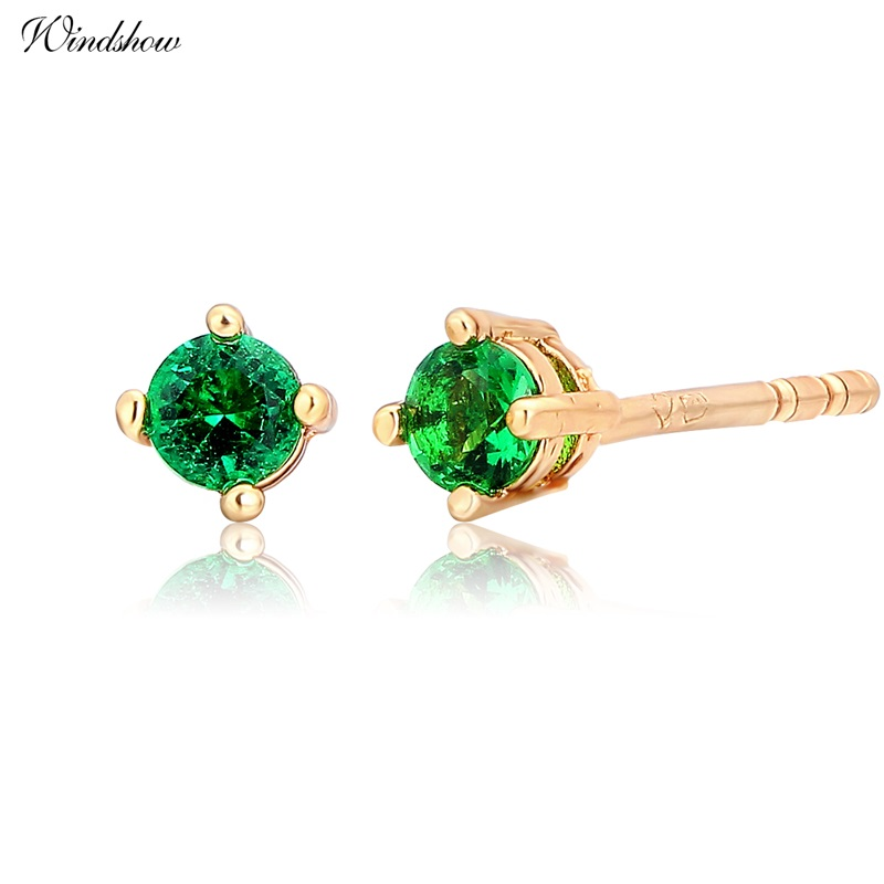 Slim Yellow Gold Color Four Claw Round Green CZ Mini Small S