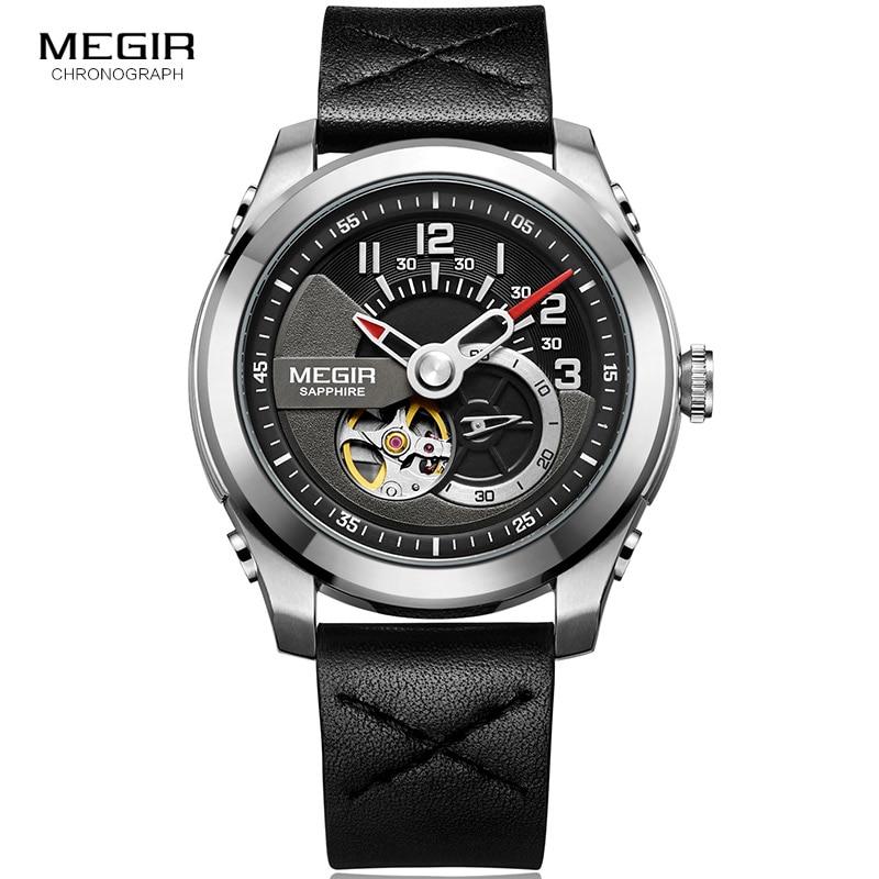 Männer Leder Strap Sport Mechanische Armbanduhren Uhr Armee Hand Wind Mechanische Uhr für Mann Relogios Masculino 62050GBK-1
