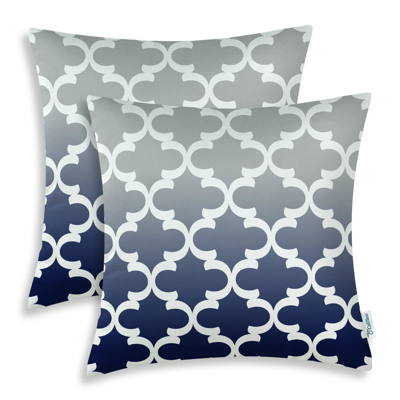 2PCS Square CaliTime Cushion Cover Pillows Shell Gradient Quatrefoil Accent Geometric 18 X 18(45cm X 45cm) Gray to Navy Blue