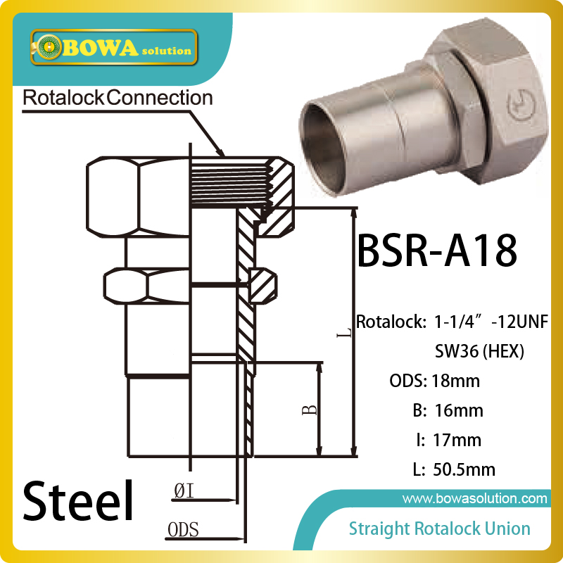 18mm ODS straight SW36 hex rotalock valve installed in evaporator of refrigeration system 7 8 plunger check valve with extension tube can be used in commercial refrigeration system domestic and industrial chiller