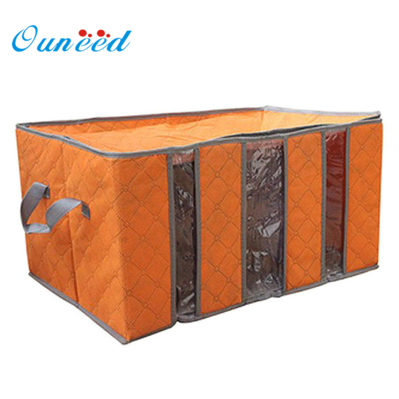 2017 New65L Foldable Bamboo Charcoal Fibre Home Closet Storage Bag Organizer Box Anti-bacterial Clothes Bins Storage Bags Jun02 vks 3003 car foldable insulation storage box
