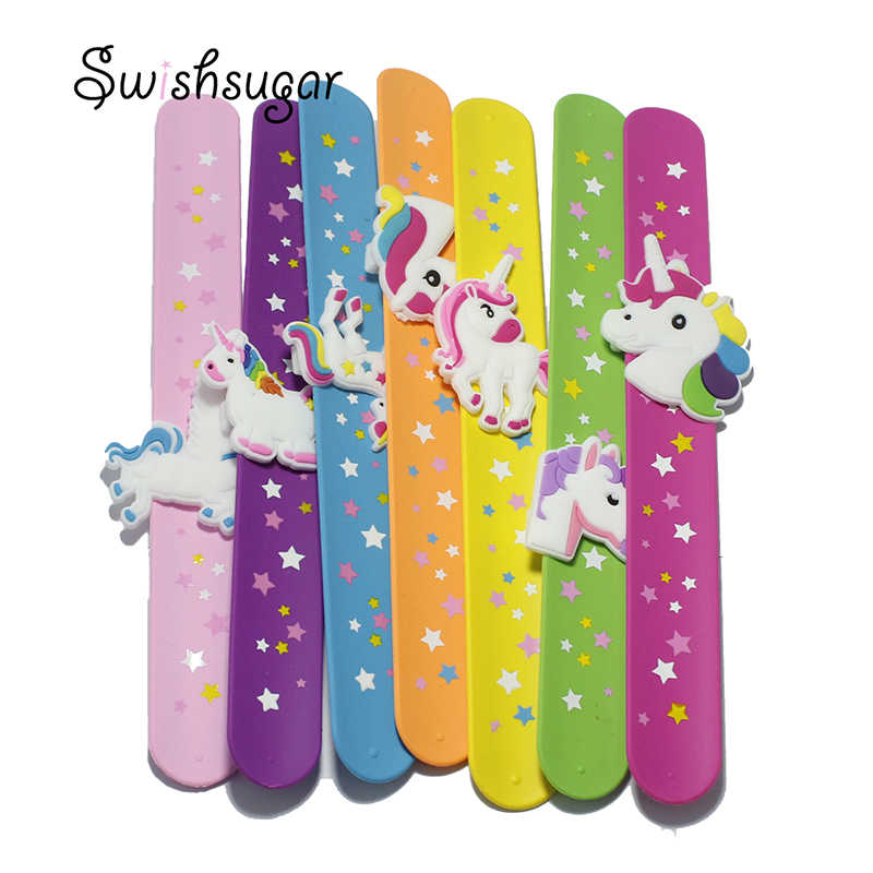 Kid Children Girl Boy Star Printing Colorful Unicorn Wristband Flexible Wrap Slap Bracelet Animal Enfant Bangle Gift Favors