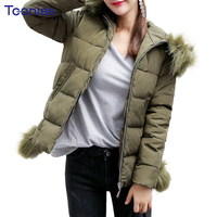 Winter Women Harajuku Big Fur Hooded Short Parkas Coat 2017 New Female Solid Slim Pluse Size Zipper Padded Jacket Mujer Outwear