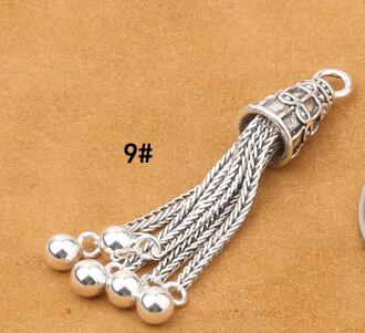 925 Серебряная кисточка DIY браслет кисточка чистое серебро ювелирные изделия кисточка - Цвет: Style 9