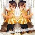 Prata dourada Conjuntos de Roupas de Bebê Meninas Roupas Set Crianças Crianças Bebê recém-nascido Da Criança Infantil Menina de Manga Curta T Shirt + Legging