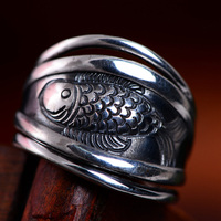 Real Pure 925 Sterling Silver Wide Rings for Women Antique Vintage Fish Viking Rings Adjustable Fine Jewelry