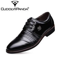 CUDDLYIIPANDA 2018 Genuine Leather Men Dress Shoes Lace Up Casual Men Flats High Quality Rubber Men