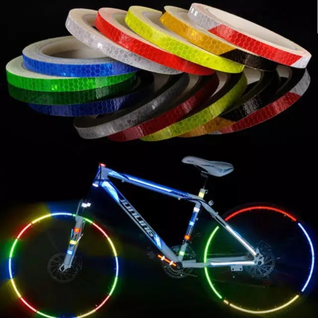 Bicycle Reflective Stickers Mountain Bike Bicycle Motorcycle Fluorescent Decal Tape Safety Warning Riding Accessories(China)