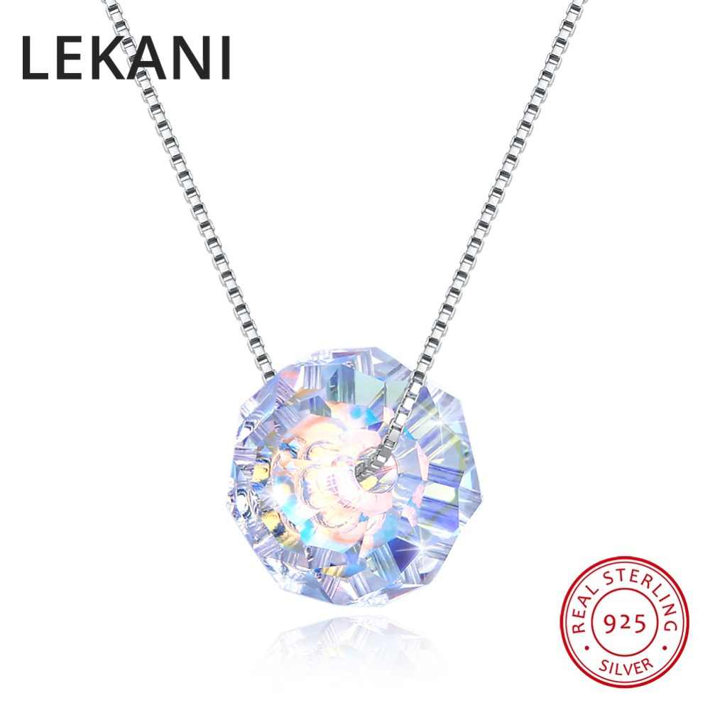 LEKANI 925 Silver Fine Jewelry Colorful Briolette Beads Crystals From Swarovski Pendant Necklace Simple Chain Collares For Women
