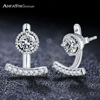 ANFASNI Pure 925 Sterling Silver Elegance Abstract Stud Earrings With Clear CZ For Women Lady Christmas