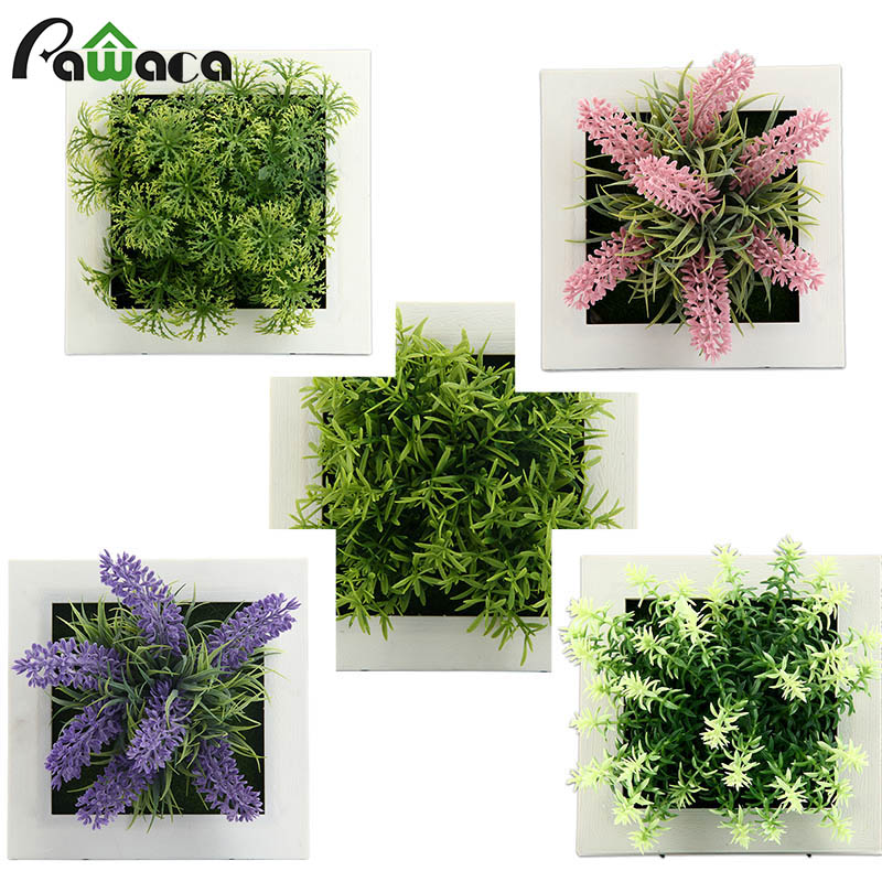 3D Artificial Flowers Wall Hanger Succulent Plants with Imitation Wood Photo Frame Shape Vase Wall Home Decoration White Frame