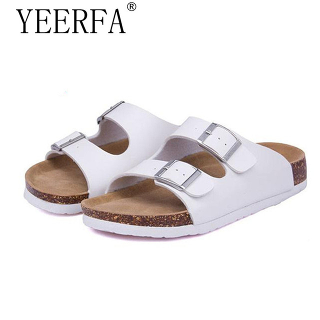 5f1f50f5f6b4 YIERFA Men Sandals 2019 Fashion Men Slipper Summer Beach Shoes Lover Shoes  Open Toe Slides Cork Slippers Plus Size 35-43