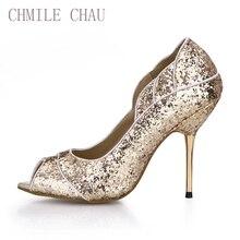 CHMILE CHAU Elegant Glitter Bridal Patry Women shoes Peep Toe Stiletto High Iron Heel Pumps Escarpins Zapatos Mujer 3845C-2a
